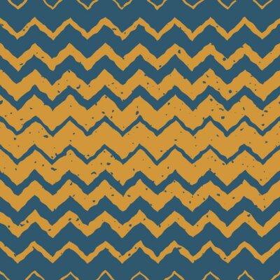 Adesivo Drawn Vector Seamless Blu Giallo a mano di colore orizzontale gradiente mezzitoni ZigZag linee distorte Grungy modello etnico