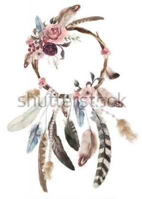 Adesivo Dreamcatcher bohemien isolato decorazione acquatica, decorazione boho feathers, design chic sogno nativo, stampa tribale etnica mistero, design cultura americana, ornamento gypsy, acchiappasogni