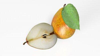 Adesivo Due pere, una tagliata a metà, frutta isolato su sfondo bianco