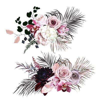 Adesivo Dusty rose, hydrangea, pink cymbidium orchid, berry, bronze, black palm leaves