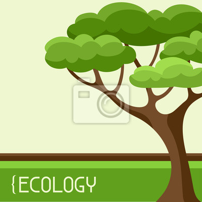 Ecologia Sfondo Disegno Astratto Con Albero Stilizzato Adesivi Per