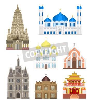 Adesivo edifici famosi viaggiano architettura e punto di riferimento edifici famosi. Turismo monumento edifici famosi cultura urbana europa. Set città in edifici famosi medie viaggiano architettura punto di r