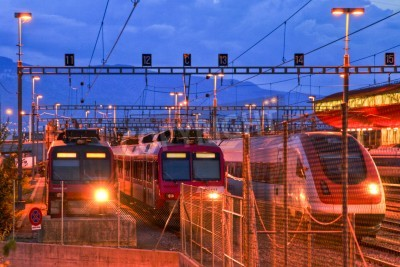 Adesivo Electric train in Geneva rail yard