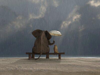 Adesivo elefante e il cane si siedono sotto la pioggia