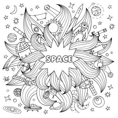 Adesivo elementi dello spazio Doodle