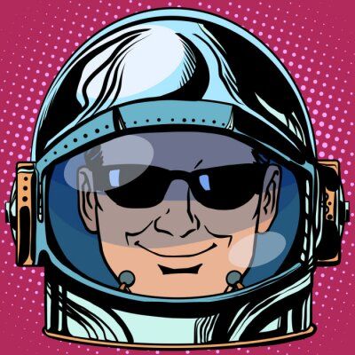 Adesivo emoticon spia Emoji uomo faccia astronauta retrò
