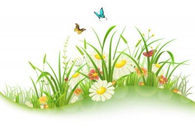 Adesivo estate prato primavera con erba verde, fiori e farfalle