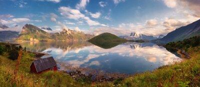 Adesivo Estate tramonto panorama delle Isole Lofoten, Norvegia