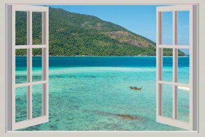 Adesivo Estate, viaggi, vacanze e concetto di vacanze - La finestra aperta,