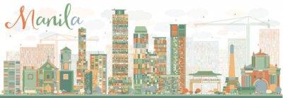 Adesivo Estratto Manila Skyline con costruzioni di colore.