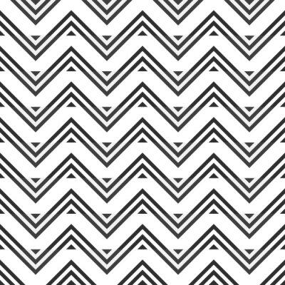 Adesivo Estratto seamless di zig-zag grigio su sfondo bianco