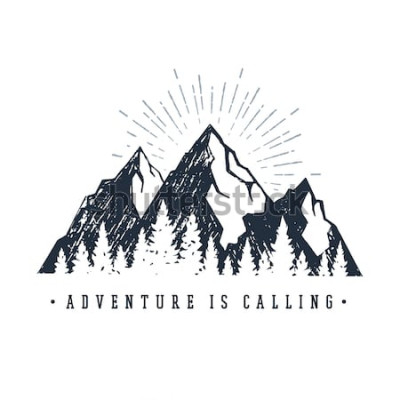 Adesivo Etichetta ispiratrice disegnata a mano con montagne e pini con texture illustrazioni vettoriali e scritte