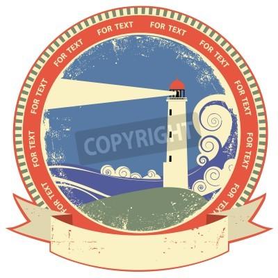 Adesivo Etichetta symbol.Vintage Faro sulla trama vecchia carta