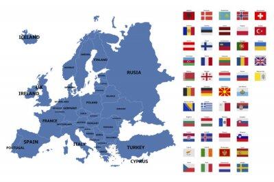 Adesivo europa mappa e le bandiere