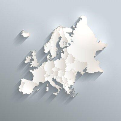Adesivo Europa mappa politica bandiera 3D vettore singoli Stati separano