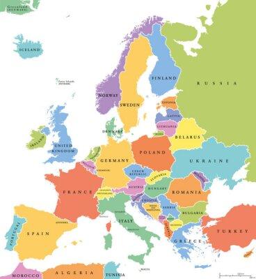 Adesivo Europa singoli stati mappa politica. Tutti i paesi in diversi colori, con i confini nazionali e nomi dei paesi. etichettatura inglese e il ridimensionamento. Illustrazione su sfondo bianco.