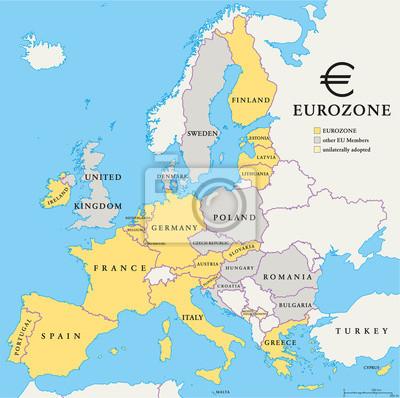 Adesivo Eurozona paesi Mappa