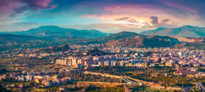 Adesivo Evening view from a volo d'uccello della città Bagheria