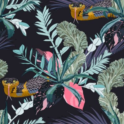 Adesivo Exotic leaves and branches, many kinds of plants and yellow snake seamless pattern. Tropical night. White background.