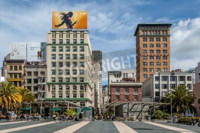 Adesivo Famosa Union Square a San Francisco il 25 febbraio 2008 a San Francisco, in California. Union Square è una famosa meta turistica ed è circondato da negozi di lusso.