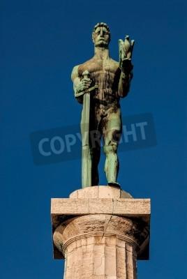 Adesivo Famoso punto di riferimento Belgrado e simbolo non ufficiale Ofthe città Victor Monumento serbo Spomenik pobedniku A fortezza di Kalemegdan, è stato creato da più famoso scultore jugoslavo, Ivan Mestr