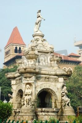 Adesivo Famoso punto di riferimento di Mumbai Bombay - Fontana floreale sulla famosa piazza, Maharashtra, India, Asia
