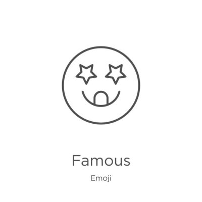 Adesivo famous icon vector from emoji collection. Thin line famous outline icon vector illustration. Outline, thin line famous icon for website design and mobile, app development