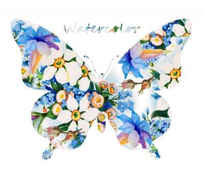 Adesivo farfalla colorata su sfondo bianco