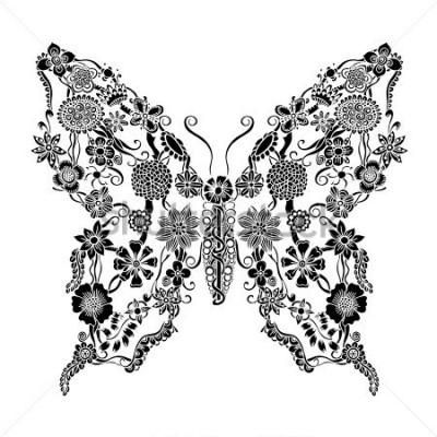 Adesivo Farfalla decorata decorativa dello scarabocchio floreale, elementi monocromatici dell'ornamento floreale per progettazione dell'album per ritagli, dell'invito o della cartolina d'augur