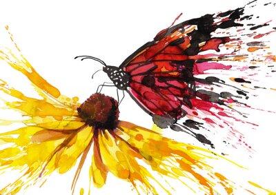 Adesivo Farfalla sul fiore