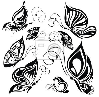 Farfalle Bianche E Nere Disegno Del Tatuaggio Adesivi Per Il
