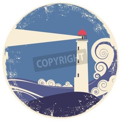 Adesivo Faro nel mare landscape.vintage illustrazione sulla vecchia carta