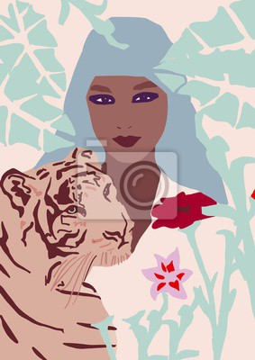 Adesivo fashion girl with tiger illustration African American