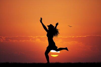 Adesivo felice ragazza al tramonto