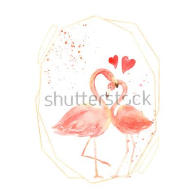 Adesivo Fenicotteri corallini viventi innamorati. Biglietto di auguri Acquerello Felice giorno di San Valentino. Disegnato a mano. Rosa