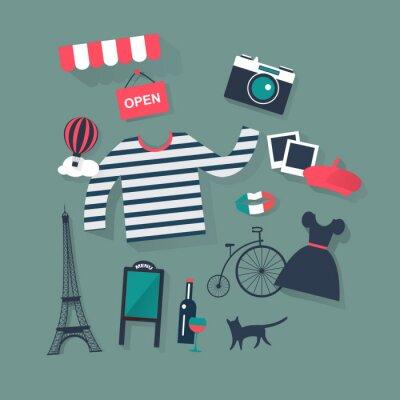 Adesivo feste e vacanze vettore piatto icone Moda francese e bist