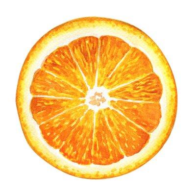Adesivo Fetta di arancia fresco isolato su sfondo bianco