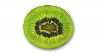 Adesivo fetta di kiwi, frutta tagliata tropicale in mezzo isolato su sfondo bianco