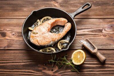 Adesivo fetta di salmone fritto