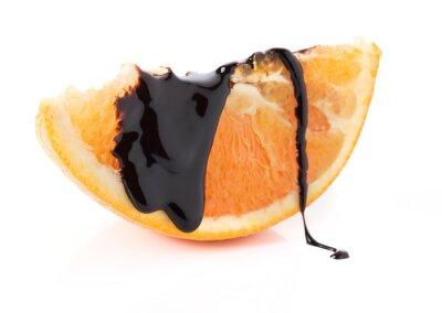 Adesivo fette d'arancia con i filetti cioccolato fuso