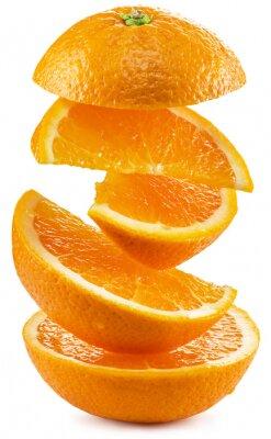 Adesivo fette d'arancia su sfondo bianco.