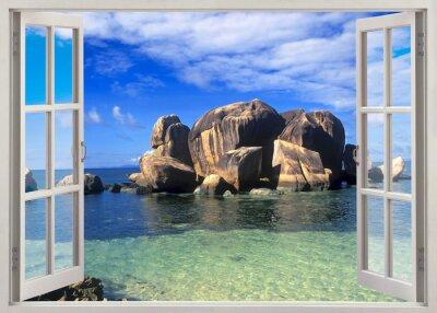 Adesivo Finestra aperta vista a riva delle Seychelles