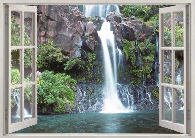 Adesivo Finestra aperta vista cascata Cormoran, Reunion Island