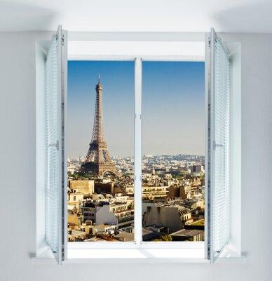 Adesivo Finestra con Torre Eiffel e tetti vista