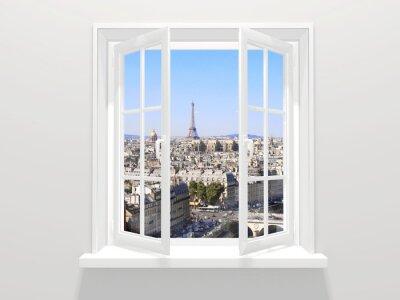Adesivo finestra e vista aperta sulle Torre Eiffel, Parigi