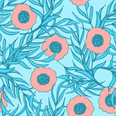 Adesivo Fiore del papavero vector seamless. inchiostro doodle disegnati stampa tessuto floreale a mano.
