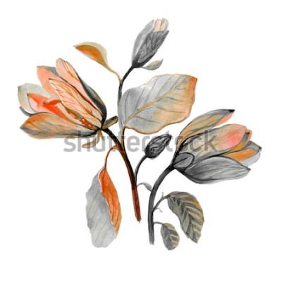 Adesivo Fiore disegnato a mano della magnolia dell'acquerello bello. Composizione di fiori verdi autunnali. Bouquet autunnale.