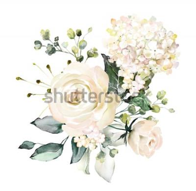 Adesivo fiori ad acquerelli. illustrazione floreale, foglia e gemme. Composizione botanica per matrimonio o cartolina d'auguri. ramo di fiori - rose astrazione, ortensia