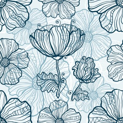 Adesivo fiori di papavero monocromatiche seamless pattern