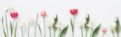 Adesivo fiori di primavera su sfondo bianco